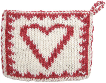 Free Knitting Patterns - Heart Double Knit Hot Pad