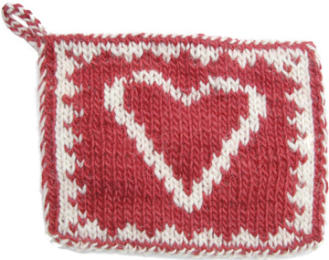 Free Knitting Patterns - Heart Double Knit Hot Pad ...